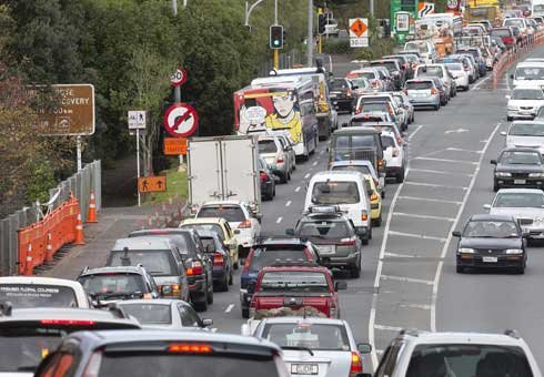 Traffic is backed up on the off ramp to the North Western Motorway in Auckland.