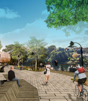 Artist's depiction of a new boardwalk by the Waikato river