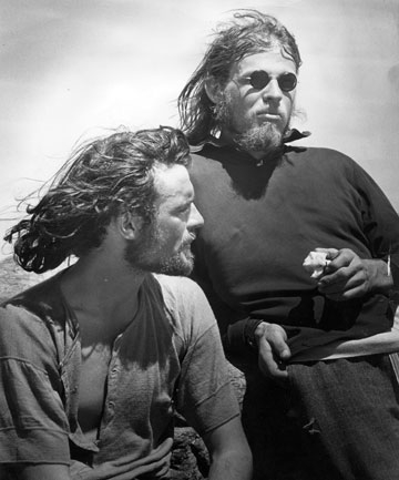 HIPPIES ON TOP: Peter Gough, left, and John Glasgow after their historic climb.