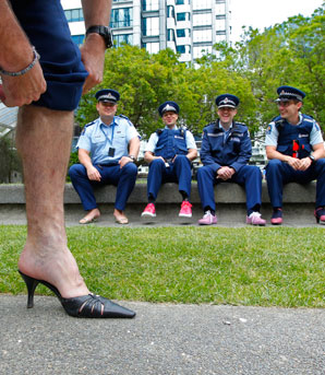 Police walk mile in their shoes