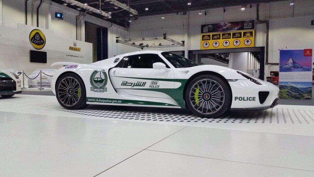Dubai Police show off their latest supercar fleet acquisition, a Porsche 918 Spyder hybrid.