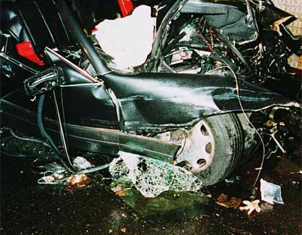 Crash scene photo from the UK Coroner's inquest into the deaths of Diana, Princess of Wales, and Mr Dodi Al Fayed.