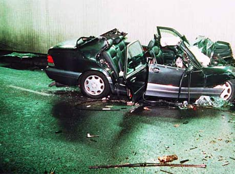 Crash scene photo from the UK Coroner's inquest into the deaths of ...