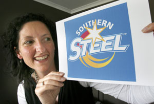 BRAND SPANKING: Southern Steel chief executive Julie Paterson with the new logo of the southern netball franchise. The team name Southern Steel and logo were revealed yesterday.