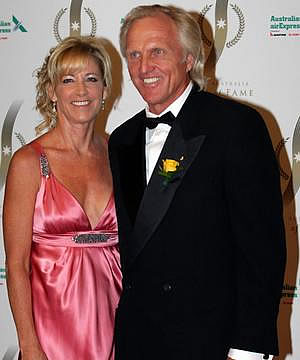 ENGAGING COUPLE: Former tennis and golf superstars Chris Evert, left, and Greg Norman are engaged but they have been advised not to marry quickly by Norman's ex-wife.
