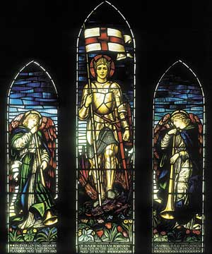 Valour and loss: St George and The Defeated Dragon, 1922, J. H. Dearle, St John the Evangelist Anglican Church, Cheviot.