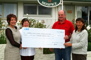 THANKS: From left, Karen McCrostie and Shona Lowson from South Canterbury Hospice  with two of the organisors  of the event, Morrell McFetrich and Sharyn Nolan presenting the cheque.