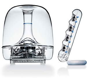 WEIRDOS: They may look like bits of an alien mothership, but these Harmon Kardon Soundsticks II are great little speakers if you're not worried about upsetting the neighbours.