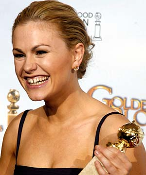 GOLDEN TOUCH: Anna Paquin's Golden Globes win is the second time she has pipped more fancied actresses for a major prize, after she won an Oscar at age 11.