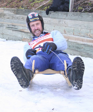 LEADING THE WAY: A jubilant Jock Scott completing his ride down Naseby's natural luge at the weekend.