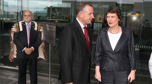 KEEPING HER DISTANCE: Prime Minister Helen Clark stays away from Owen Glen at  opening of the Auckland University Business School.