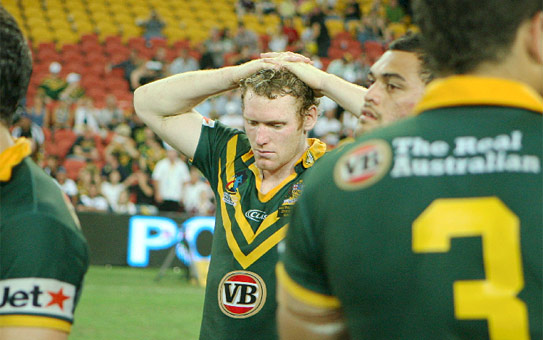 SHOCK LOSS: Australia's Joel Monaghan reacts after losing the rugby league World Cup final to New Zealand.