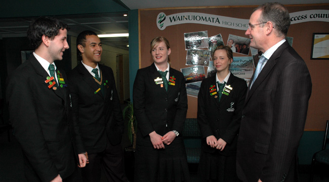 STRONG SPIRIT: Wainuiomata High School student leaders (from left) Campbell Barry, Jerome Easthope, Stacey Groenewegen chat to Hutt South MP Trevor Mallard about how improved NCEA exam results have added to school spirit and pride.