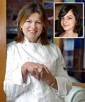 HELL'S KITCHEN? Success is sweet for top pastry chef Pauline Nunns who travelled to London to see her protege Samantha Dinsdale, inset,  make it at a two-star Michelin restaurant owned by Gordon Ramsey.