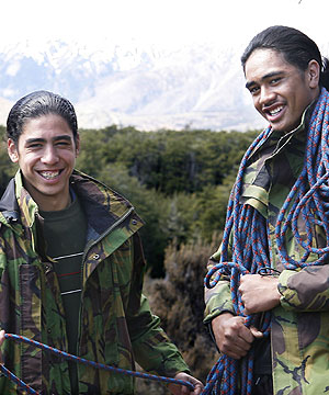 Going bush: Darcy Lukic, 15, and Anaru Wano, 16, at St Andrews Lodge, Castle Hill, on a youth leadership programme.