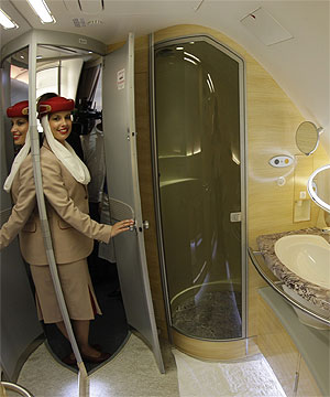 GET WET A Stewardess Poses Inside The Bathroom On One Of Dubai Based Airline