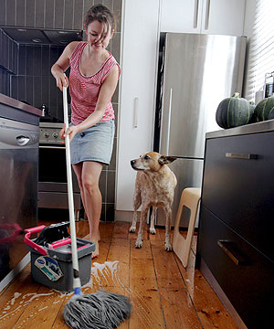 THIS LOOKS LIKE A JOB FOR... A new study shows that having a husband creates an extra seven hours of extra housework a week for women.