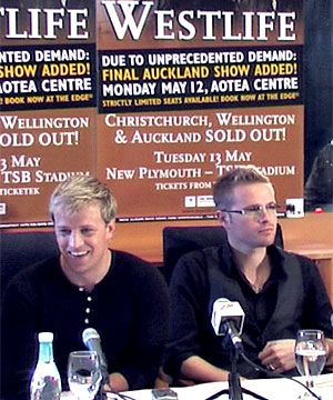 (From left) band members Shane Filan, Kian Egan, Nicky Byrne and Mark Feehily front a media conference in Christchurch this morning.