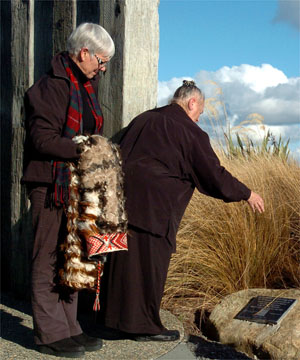 Blessing: Minister of Conservation Steve Chadwick (left) looking on while Reverend Peggy Peek performs a blessing during a ceremony to unveil a plaque commemorating Awarua Wetlands recognition under the International Ramsar Convention on Wetlands yesterday.