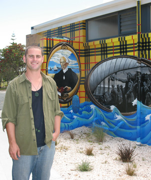 COVE PAINTING: Artist Daniel Mills plans to finish the award-winning mural on the Waipu Cove toilet block this summer.