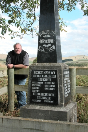WRONGLY RECORDED: The New Zealand Geographic Board is unlikely to put the former district of Te Ngawai back on the map. Pictured beside the war memorial is Albury historian Jeremy Sutherland.