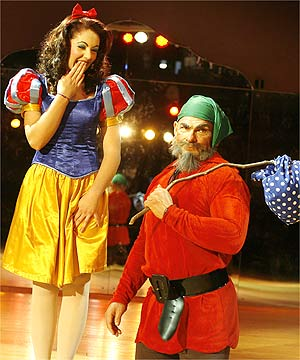 HI HO: Rodney Hide gets the short end of the stick playing a dwarf alongside Maddison Turner's Snow White.