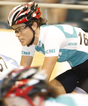 SPEED THRILL: Catherine Cheatley competing during the 2008 National Track Championships at Invercargill in February.