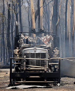 GOING NOWHERE: A burnt out truck at Narbethong, Victoria.