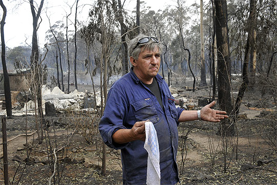FIRESTORM: Peter Lovett at Narbethong where he stayed and defended his house while fire ripped through at the weekend.
