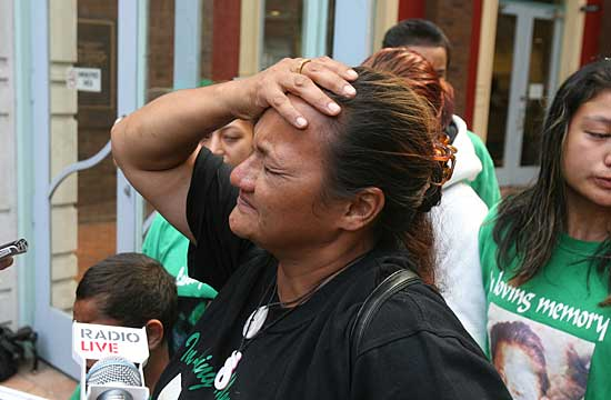 DEVASTATED: Pihema Cameron's mother Leanne outside court today.