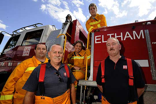 HEROES: Eltham CFA firefighters Nel Ellery (right) and Kevin L'Huillier (second from left) with their team members Andrew Heath (left), Sarah Quilici (sitting) and Anthony Owen (top).
