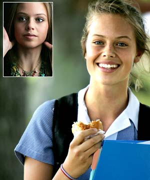 FUTURE STAR: Even in school uniform mode, munching a healthy roast-beef sandwich, Jessica's got something special. Inset: during a glamour shoot for Miss teen Manawatu.