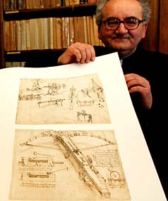 ATLANTIC CODE: Father Franco Buzzi of the Biblioteca Ambrosiana library shows a copy of the Atlantic Code.