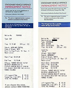 "SPOT THE DIFFERENCE: The fake parking ticket, left, and a real parking infringement notice. Click <a href=""http://multimedia.stuff.co.nz/rugby/images/parkingticket.jpg  "" target=_blank><b>here</b></a> to see larger image of the tickets."