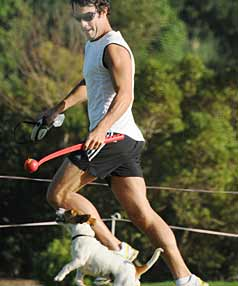 EXERCISING THE DOG: Former broadcaster Tony Veitch out jogging in Remuera last month.