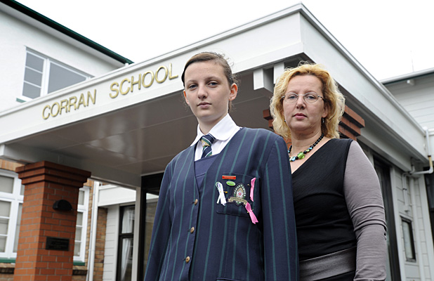 BATTLING ON: Corran School student Grace Benedek Rooney, 14, and her mum Susan Benedek say they won't give up the fight to keep Corran from merging with Saint Kentigern.