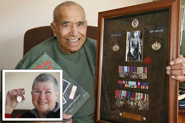 FAMILY PRIDE: Decorated veteran Sam Christie with his vast collection of medals, including an MBE. Mr Christie spent two years in Korea, three in Malaya and one in Vietnam. INSET: Invercargill RSA welfare officer Bev Christie, Sam's wife, with her Queen's Service Medal, awarded for her 20 years' work with returned servicemen.