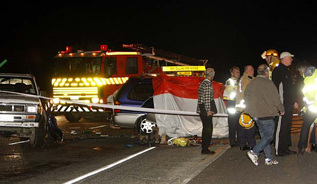 HARD WORK: Emergency services at the fatal accident on State Highway 6.