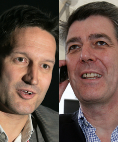 GOOD CALL: Vodafone and Telecom have resolved their differences over the imminent launch of Telecom's XT network.  Vodafone CEO Russell Stanners (L) and Telecom CEO Paul Reynolds (R) pictured.