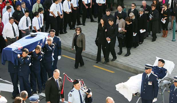 police funeral len snee strong and gentle stuff co nz