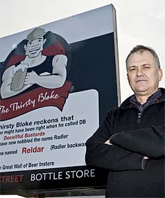 STRONG WORDS: Manager Kim Barron of The Thirsty Bloke Bottle Store in Christchurch is far from happy that DB has trademarked the Radler type of beer.