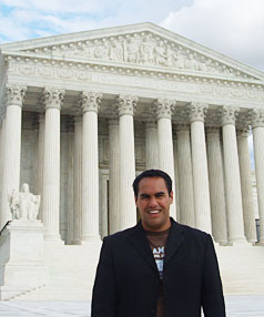 A LONG WAY FROM UPPER HUTT: Adam Ruri  at the United States Supreme Court in Washington DC, where he works in the Capitol Building.