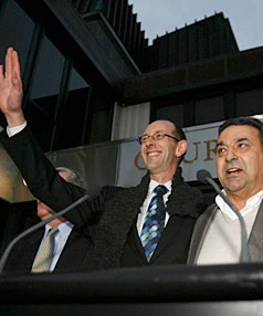 VICTORY: David Bain and Joe Karam outside court after today's not guilty verdicts