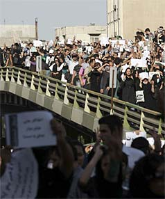 MOVEMENT: Protesters march during a silent demonstration against the results of the Iranian presidential election in central Tehran on June 17.