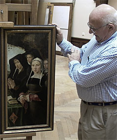 REUNITED: Thomas Selldorff looks an altar piece by Austrian baroque artist Kremser Schmidt that was confiscated by the Nazis from his grandfather's collection.