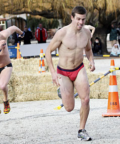 NAKED AMBITION: Tim Jones, of Christchurch,on his way to taking out the Undie 500 race at the Queenstown Winter Festival yesterday.