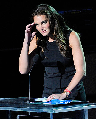 Brooke Shields speaks at Michael Jackson's public memorial service held at Staples Center in Los Angeles.