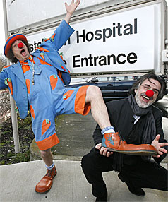 CURATIVE COMICS: Carrot the Clown and Dr Thomas Petschner raise  smiles outside Christchurch Hospital yesterday.
