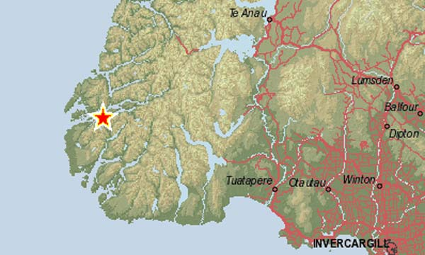 QUAKE CENTRE: The location of tonight's earthquake is marked with a star.