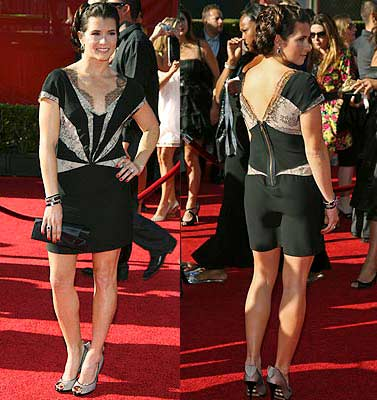 IndyCars star Danica Patrick shows off her outfit on the red carpet after arriving for the taping of the 2009 ESPY Awards in Los Angeles.
